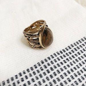 Gold vine brown ring